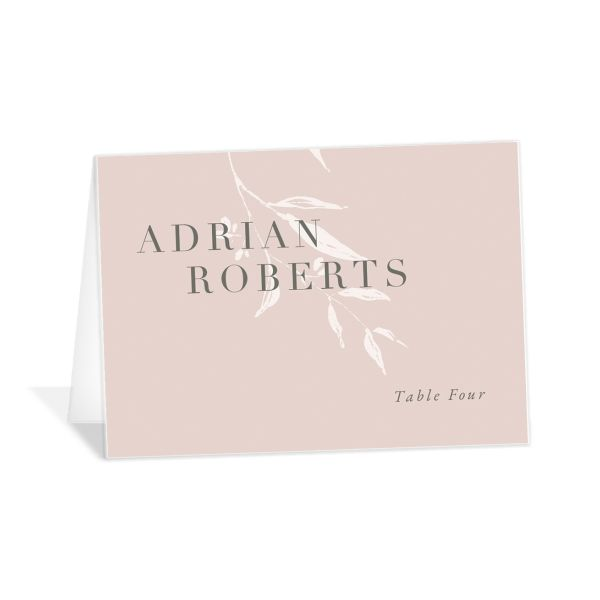 Rustic Minimal Wedding Place Cards front in pink