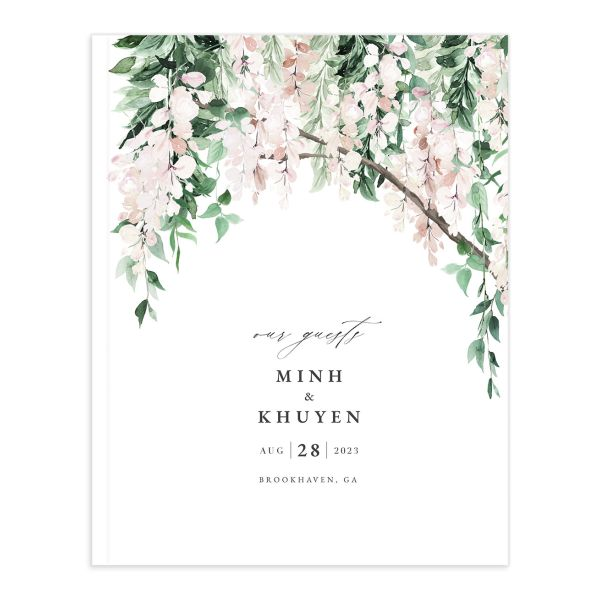 Romantic Wisteria Guest Book front closeup in pink