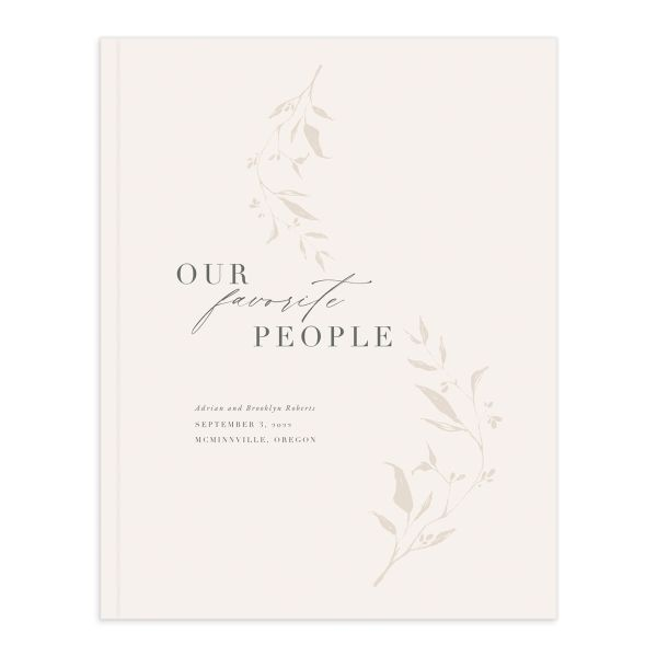 Rustic Minimal Wedding Guest Book front in cream