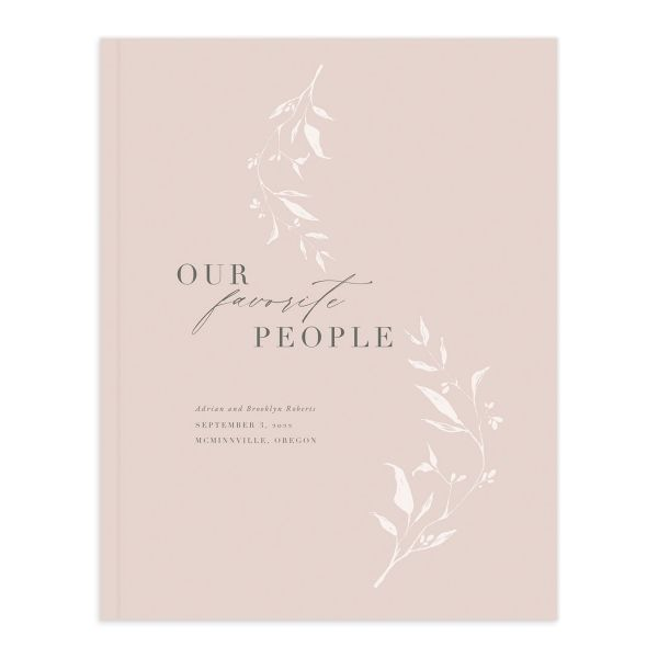 Rustic Minimal Wedding Guest Book front in pink