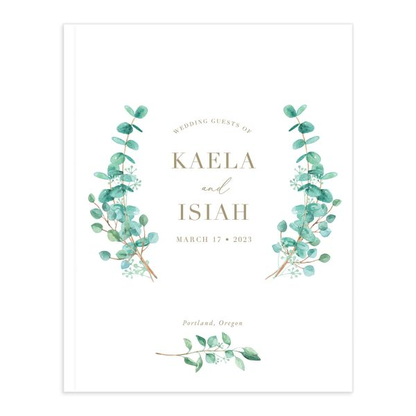 Elegant Eucalyptus Wedding Guest Book front