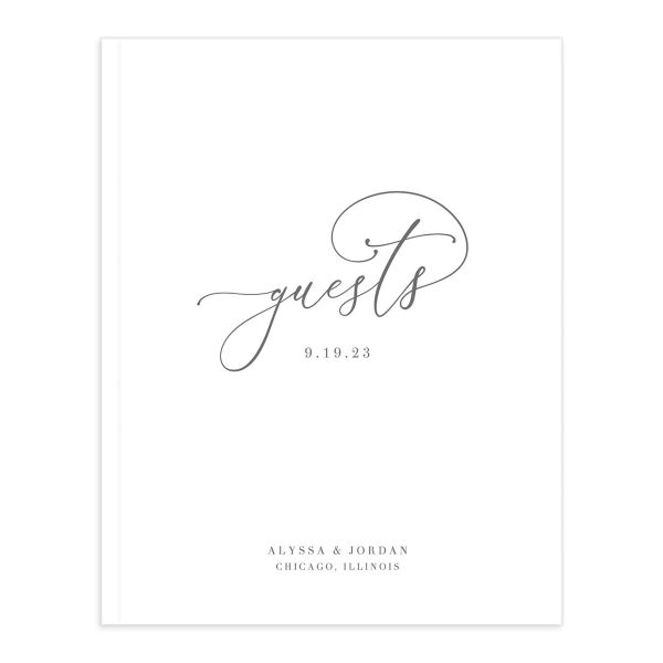 Romantic Calligraphy Wedding Guest Book front