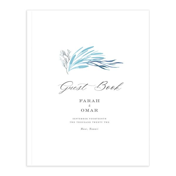 Elegant Beach Wedding Guest Book closeup in blue
