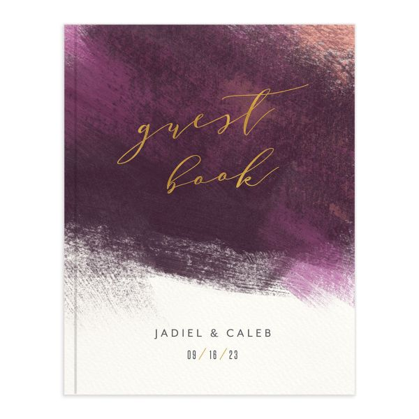 Modern Brushstroke Wedding Guest Book purple