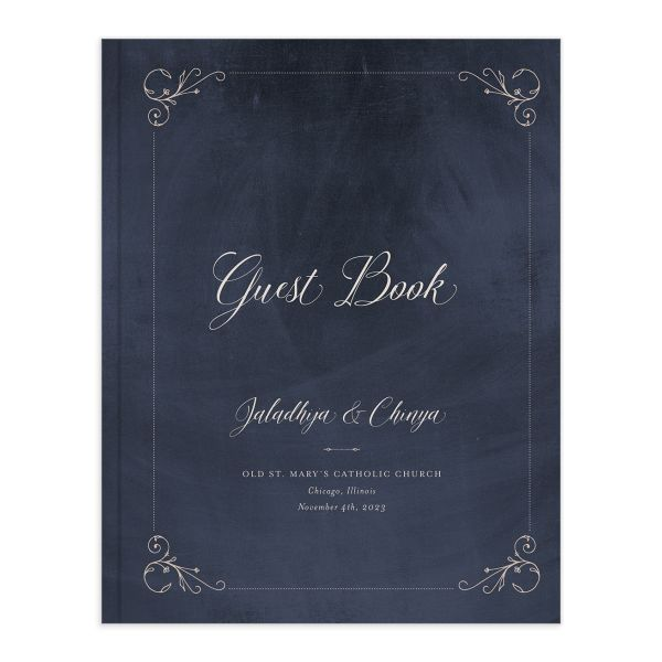 Vintage Luxe Wedding Guest Book blue