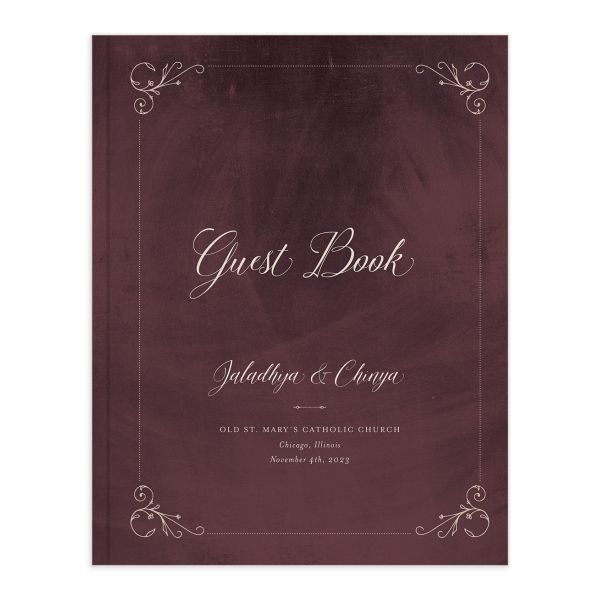 Vintage Luxe Wedding Guest Book red