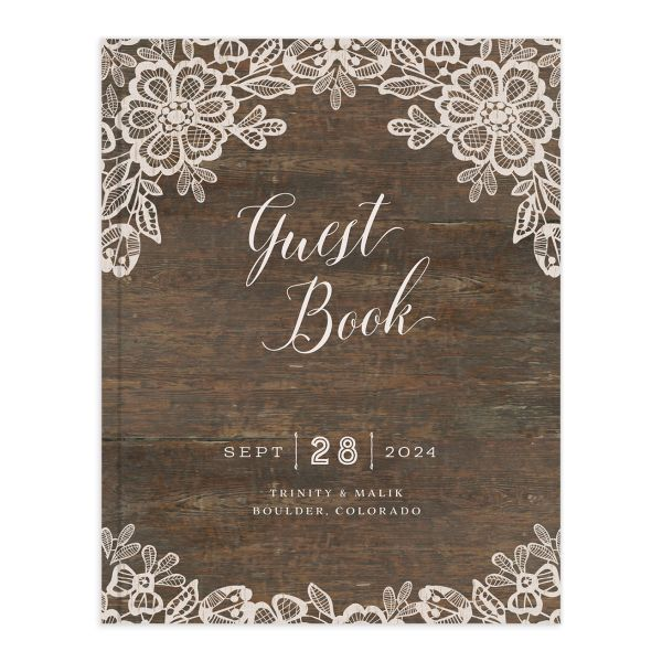 Woodgrain Lace Wedding Guest Book