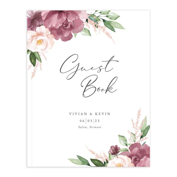 Beloved Floral Wedding Guest Book front closeup in pink