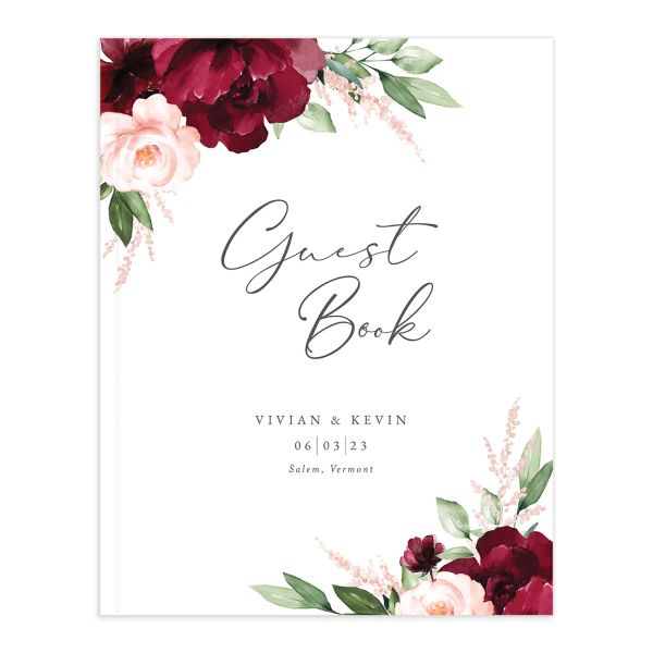Beloved Floral Wedding Guest Book front closeup in red