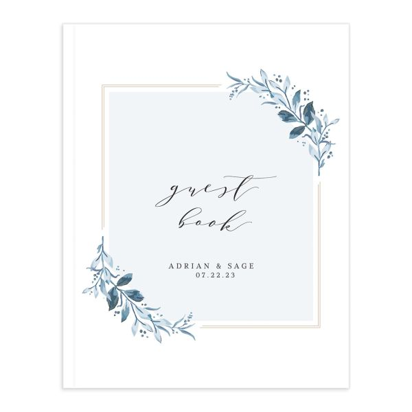 Classic Greenery Wedding Guest Book in blue