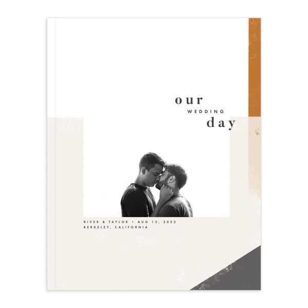 Modern Colorblock Wedding Guest Book front in grey