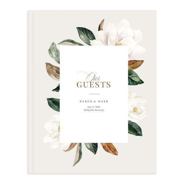 Painted Magnolia Wedding Guest Book in grey