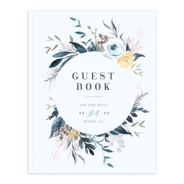 Wild Wreath Wedding Guest Book front blue