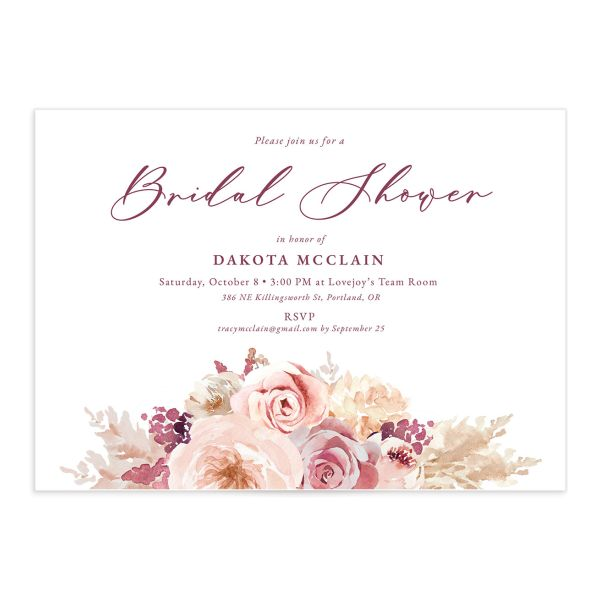 Blush Bouquets Bridal Shower Invitation front closeup