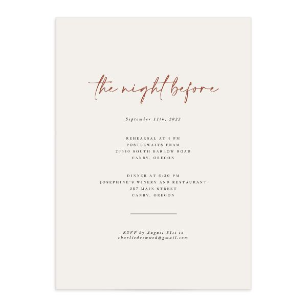 Romantic Bohemian rehearsal dinner invitation front