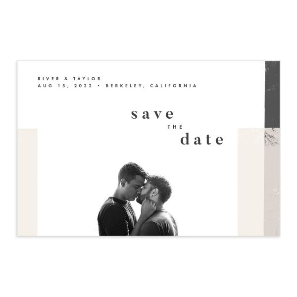 Modern Colorblock Save the Date Postcard front in grey