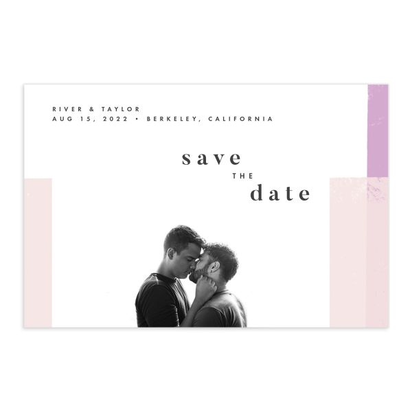 Modern Colorblock Save the Date Postcard front in pink