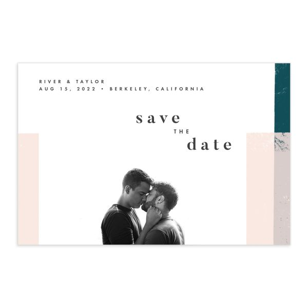 Modern Colorblock Save the Date Postcard front in teal