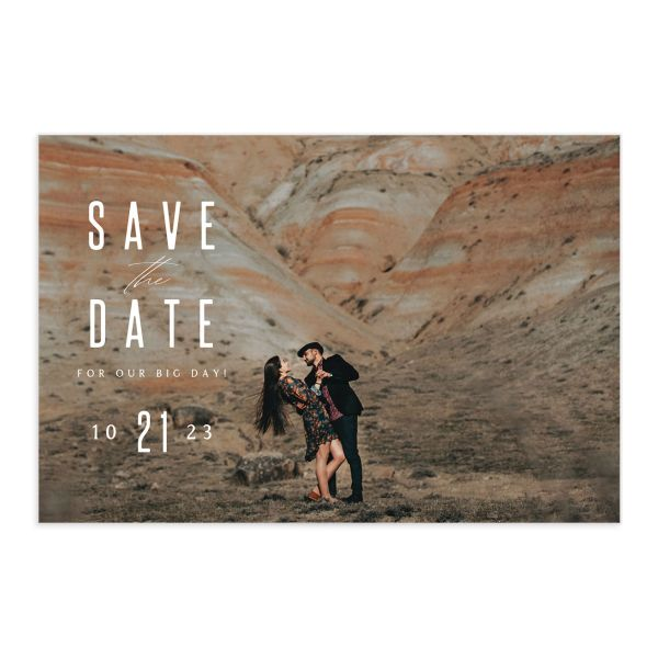 Classic Cascade Save the Date Postcard front in navy