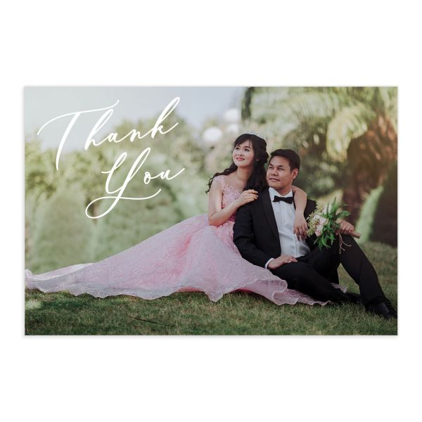 Gilded Botanical Thank You Postcard front in navy