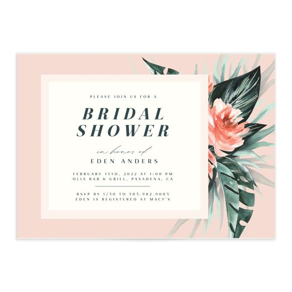 Mod Tropic Bridal Shower Invitation front in pink