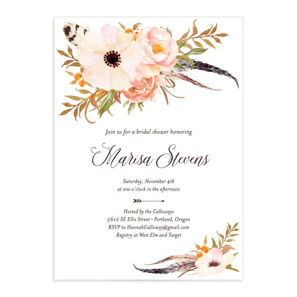Bohemian Floral Bridal Shower Invitation front peach