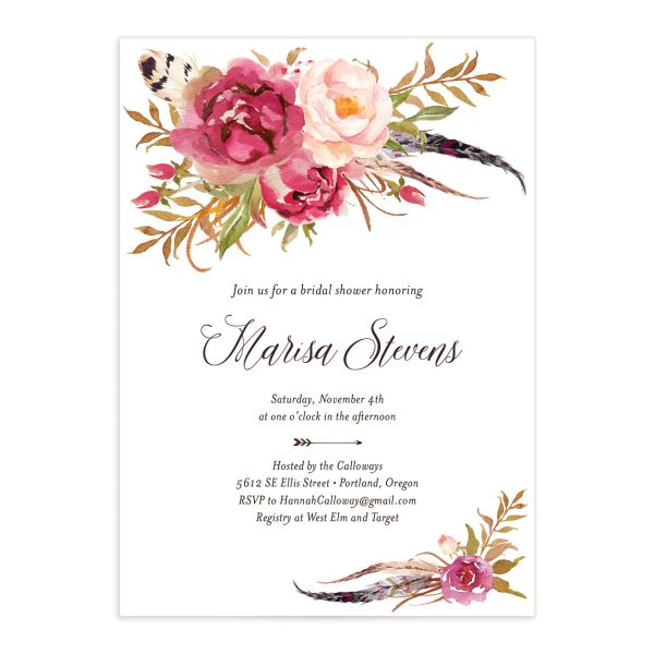 Bohemian Floral Bridal Shower Invitation front pink