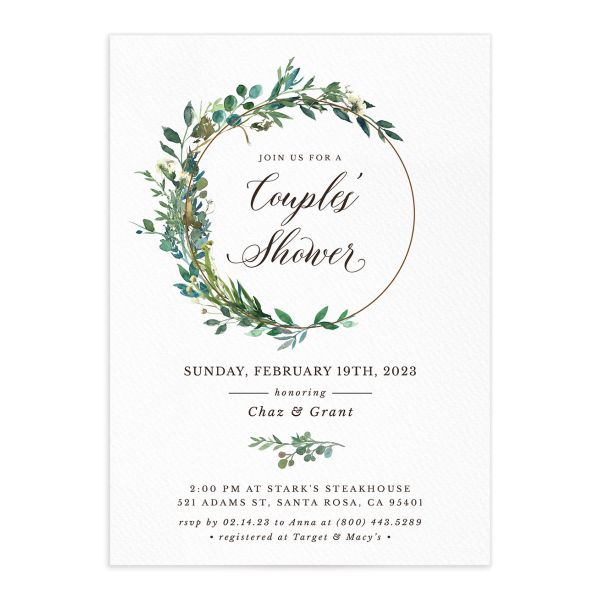 Leafy Hoops Bridal Shower Invitation front