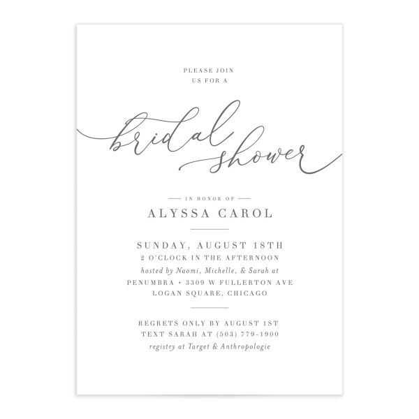 Romantic Calligraphy Bridal Shower Invitation front