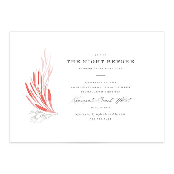 Elegant Beach Rehearsal Invitation front closeup in pink