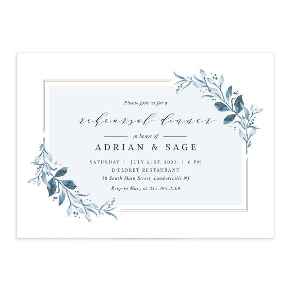 Classic Greenery Rehearsal Invitation front closeup in blue