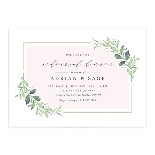 Classic Greenery Rehearsal Invitation front closeup in pink