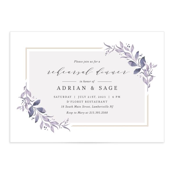 Classic Greenery Rehearsal Invitation front closeup in purple