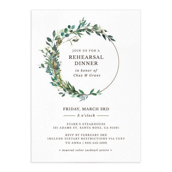 Leafy Hoops Rehearsal Dinner Invitations