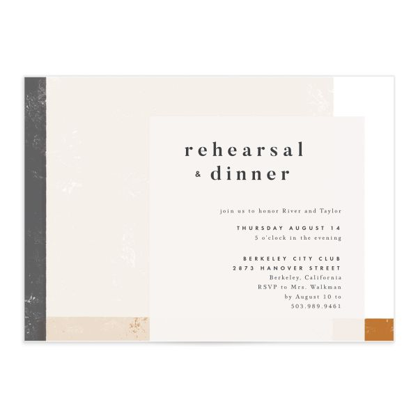 Modern Colorblock Rehearsal Invitation front closeup in grey