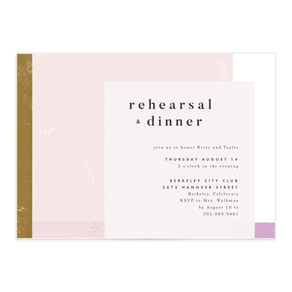 Modern Colorblock Rehearsal Invitation front closeup in pink
