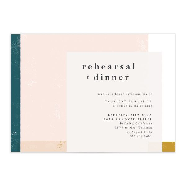 Modern Colorblock Rehearsal Invitation front closeup in teal