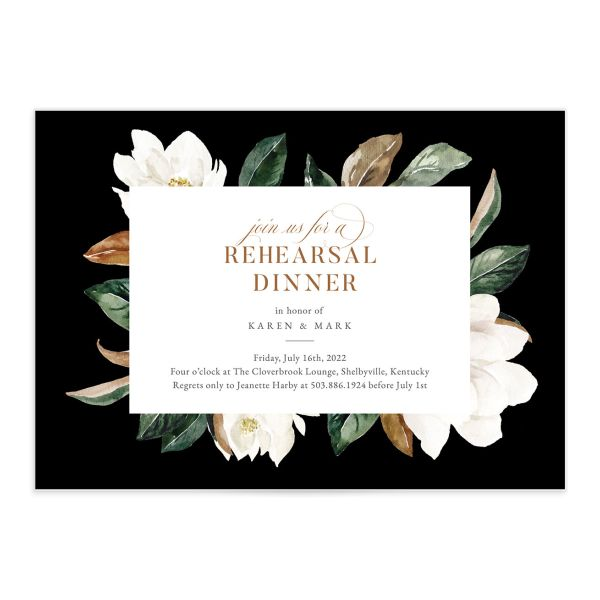 Painted Magnolia Rehearsal Invitation front closeup in black