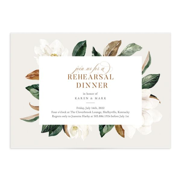Painted Magnolia Rehearsal Invitation front closeup in grey
