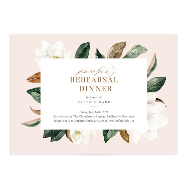 Painted Magnolia Rehearsal Invitation front closeup in pink
