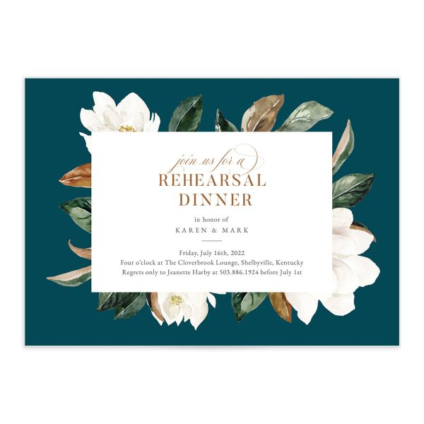 Painted Magnolia Rehearsal Invitation front closeup in teal