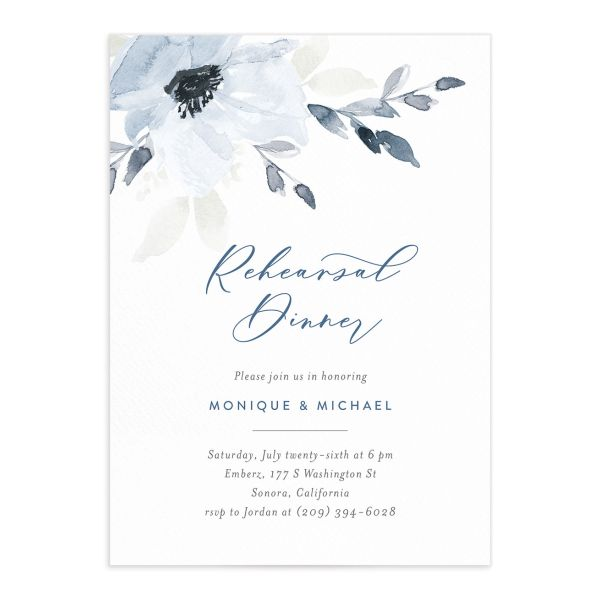 Shades of Blue Rehearsal Dinner Invitation front