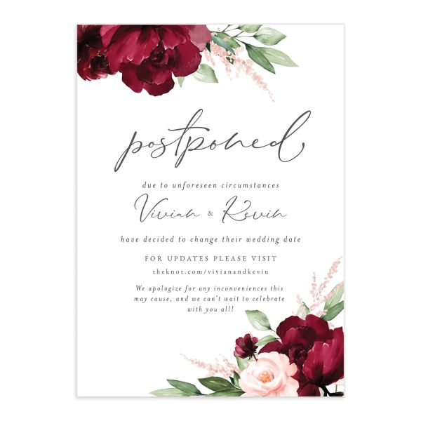 Beloved Floral Change the Date Card front in red