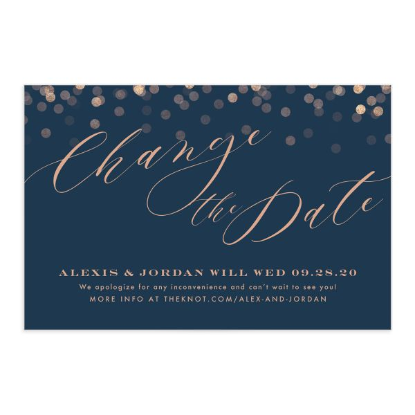 Elegant Glow Change the Date Postcard front closeup in teal