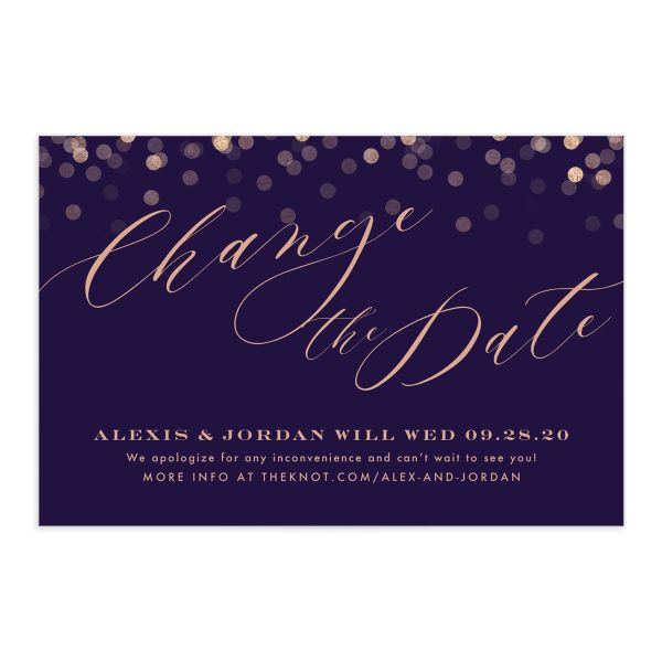 Elegant Glow Change the Date Postcard front closeup in purple