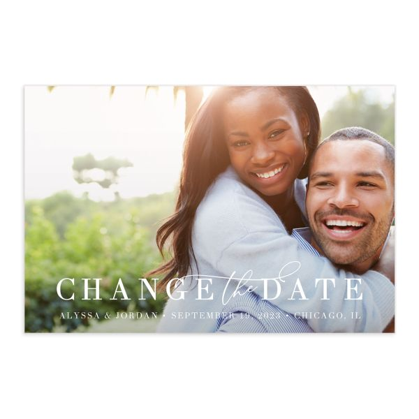 Romantic Calligraphy Change the Date Postcard front and back