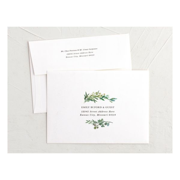 Leafy Hoops Wedding Invitation Envelopes