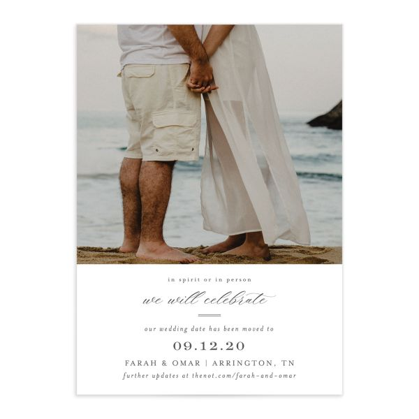Elegant Beach Change the Date Card front closeup all colors