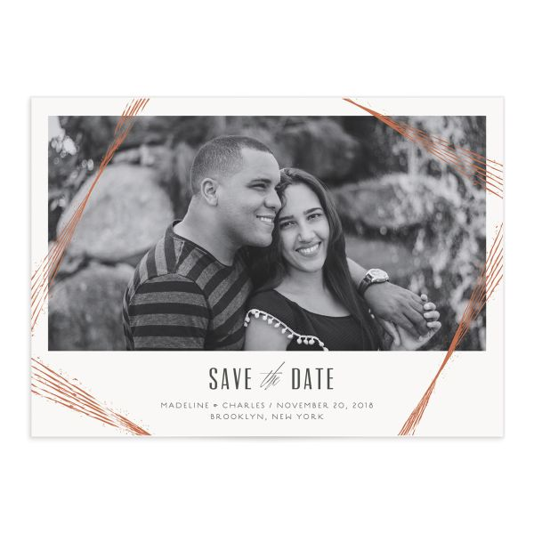 Elegant Industrial Wedding Save the Date Card front