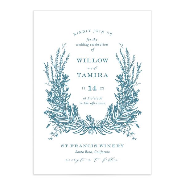 Elegant Laurel Wedding Invitation front in blue